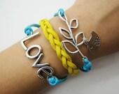 Adjustable silvery branch crossing bracelet blue rope women multicolor rope bracelet women jewelry bangle 1157S