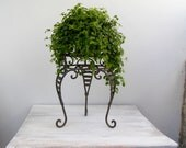 Vintage Iron Plant Stand, Table night stand, country rustic black stand on three legs, Victorian curves design, mid century home decor