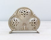 Metal Napkins Holder, Mid century Victorian, Filigree, retro kitchenware, Letters holder, french country, Desk accessory, Christmas gift
