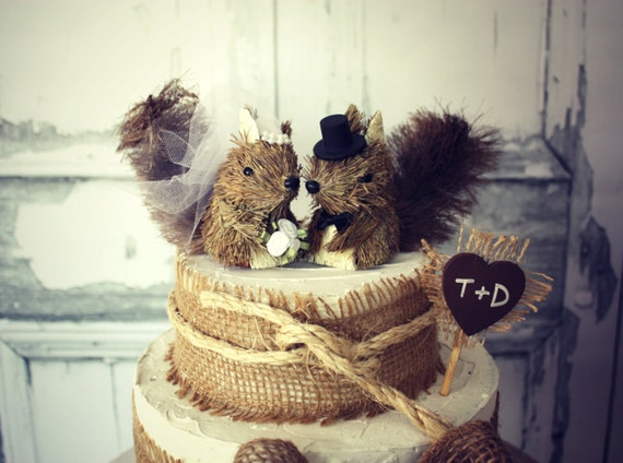 Squirrel Wedding Cake Topper Rustic By Morganthecreator On