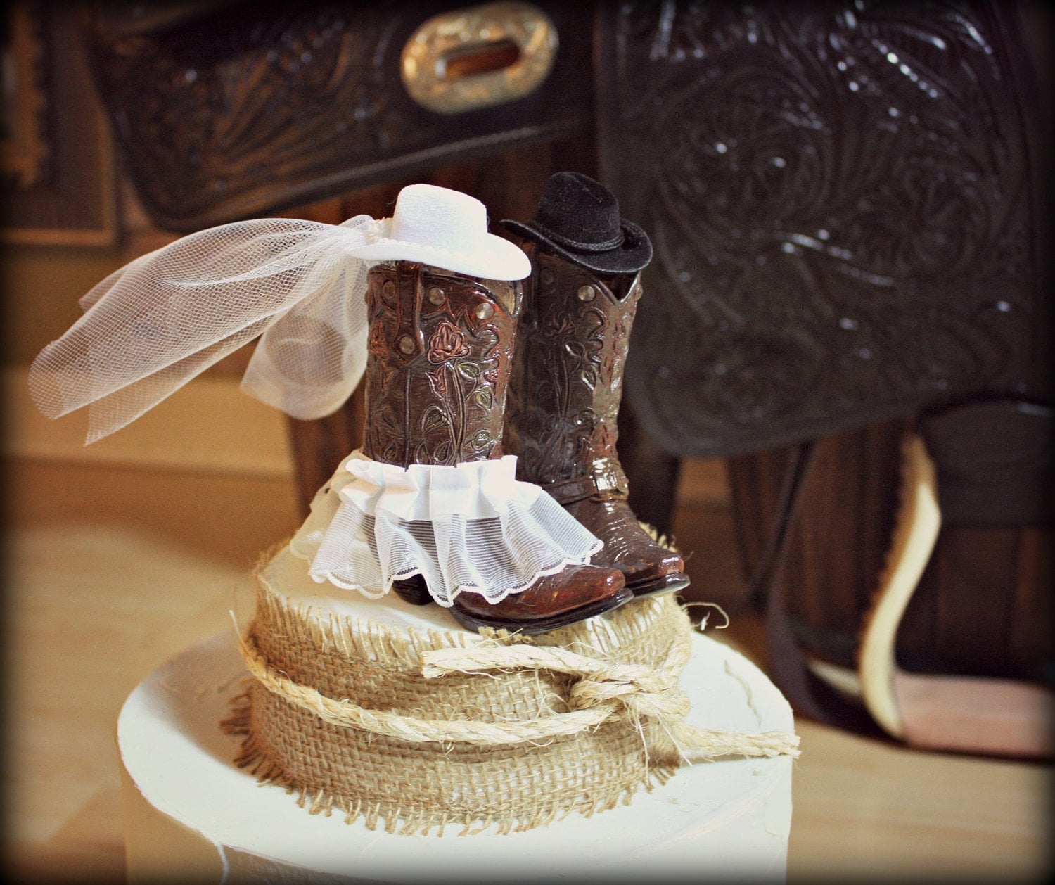 Cowboy Cowgirl Wedding Ideas: Cowboy Boots Wedding Cake Topper-Western By MorganTheCreator