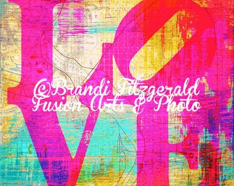 Love C Pink Philly Love Park Inspired Bold Colorful Wall Decor At Checkout, Choose Lustre Print or Gallery Wrapped Canvas