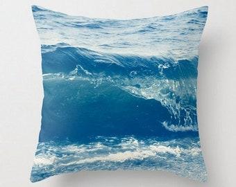 "Throw Pillow 16"" x 16"" The Blue Crashing Wave."