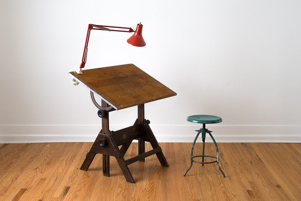 Vintage Industrial Distressed Wood Anco Bilt Drafting Table