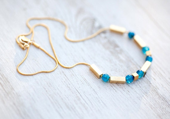 NEW Collection 6 Blue Agate Faceted Beads on Thin gold plated Chain Necklace  by pardes israel