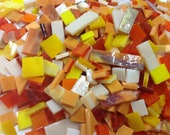 100 FLOWER COLOR MIX 2 Red Orange Yellow Stained Glass Mosaic Tile B41