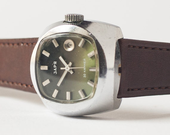 Women's wrist watch Zarja - automatic watch - olive face watch rare, Soviet Era