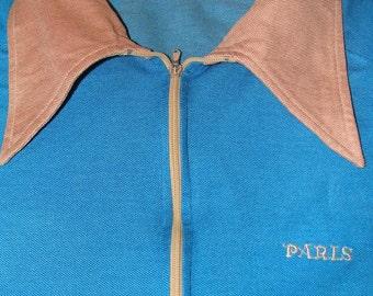 Vintage 80s Paris Retro Blue Collared Women's Shirt