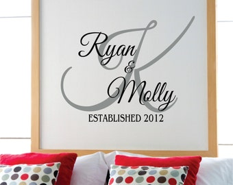 Personalized Family Name Wall Decal  - Name Wall Decal - Bedroom Decor Wall Decals - Wedding Decor