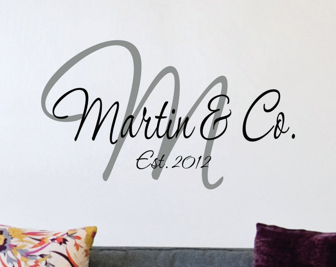 Custom Family Name Wall Decal // Custom Monogram // Family Name Decal // Established Date // Family Sign // Wedding Decal