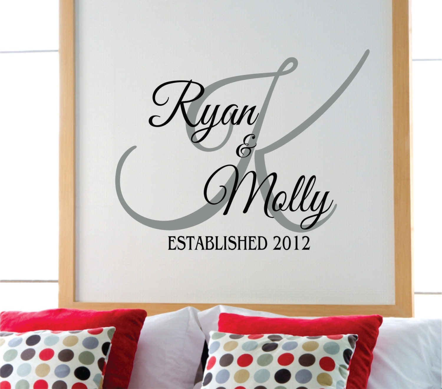 Personalized Bedroom Wall Decor : Personalized family name wall decal