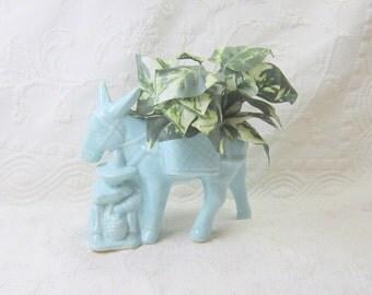 Mid Century Planter Vase Blue Southwestern Donkey Farmer Decor Gift Guide Garden Gift  Under 30