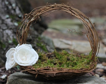 Rustic Flower Girl Basket Nest, Paper Roses Rustic Wedding, Shabby Chic Wedding