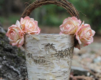 Shabby Chic Flower Girl Basket Rustic Wedding, Birch With Twig Handle, Paper Roses, Rustic Wedding, Shabby Chic Wedding