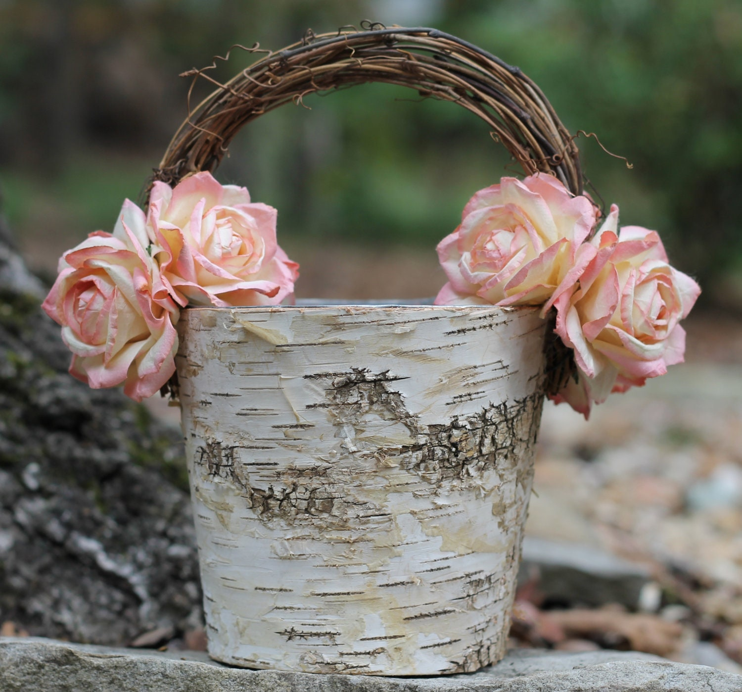 Girly Rustic Chic Bedroom: Shabby Chic Flower Girl Basket Rustic Wedding Birch With Twig