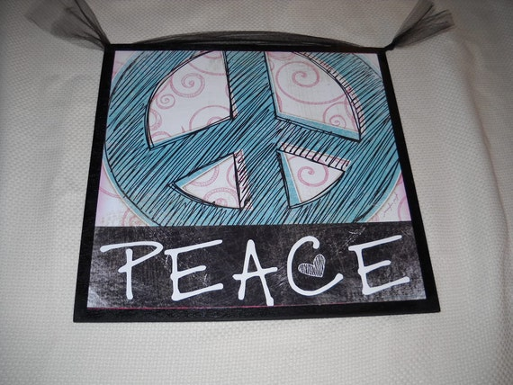 Peace Sign Bedroom Accessories: Items Similar To Aqua Blue And Black Peace Sign Wooden