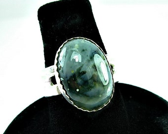 Sterling Silver & Jasper Ring, wide band, hand cut stone, Sz 7, Teal, Green, Black