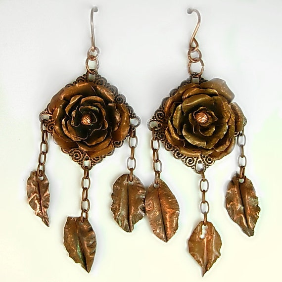 Handmade Copper Metalwork, Oxidized Roses and Leaves Earrings, Riveted and fold forming
