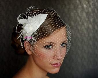 WEDDING BIRDCAGE VEIL, Bridal Headpiece,  vintage bird cage veil ,  ivory cream detachable wedding veil