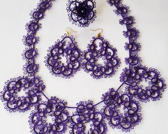 Handmade Jewelry set purple - gift for Her - Needlecraft - gift for wife - vintage style - OOAK - handmade lace - party cocktail