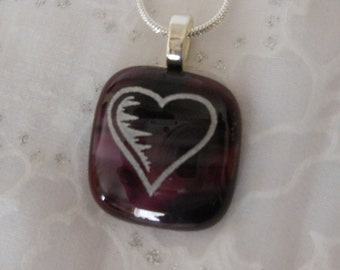 Heart Pendant Necklace Fused Glass Jewelry Purple heart Jewelry Etched Jewelry