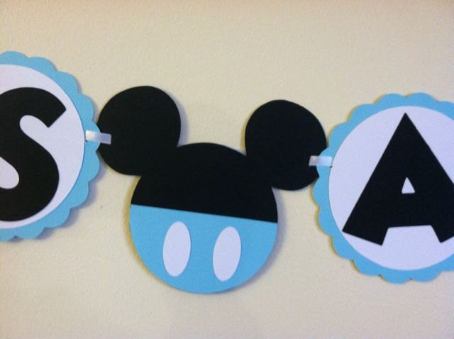 Mickey mouse baby shower banner its a boy baby by niudesigns for Baby mickey mouse decoration
