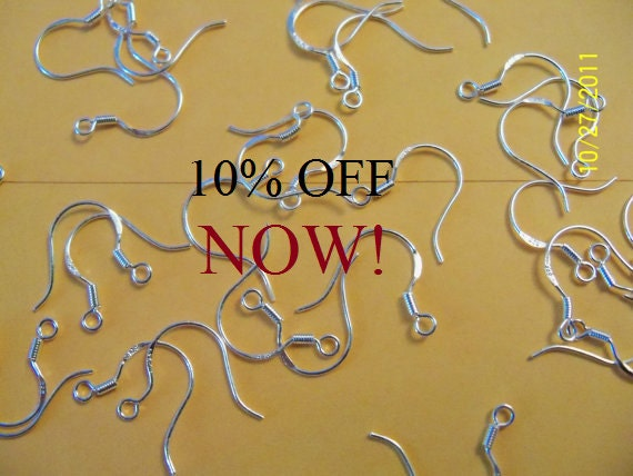 30 Pair of .925 Sterling Silver Ear Wires 60ct  NOW 10% off  Ships Tomorrow! or TODAY!