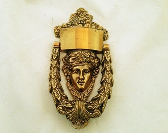 BRASS Neo-classical DOOR KNOCKER - Very heavy with a head design.  Portugal.  Free Shipping