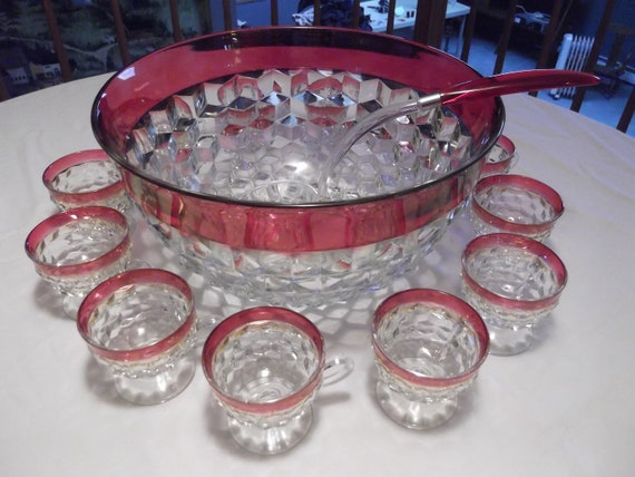 Indiana Glass Whitehall Ruby Red Flash Crystal  Punch Bowl Set 14 Piece with Ladle, Hooks  and Box for Cups