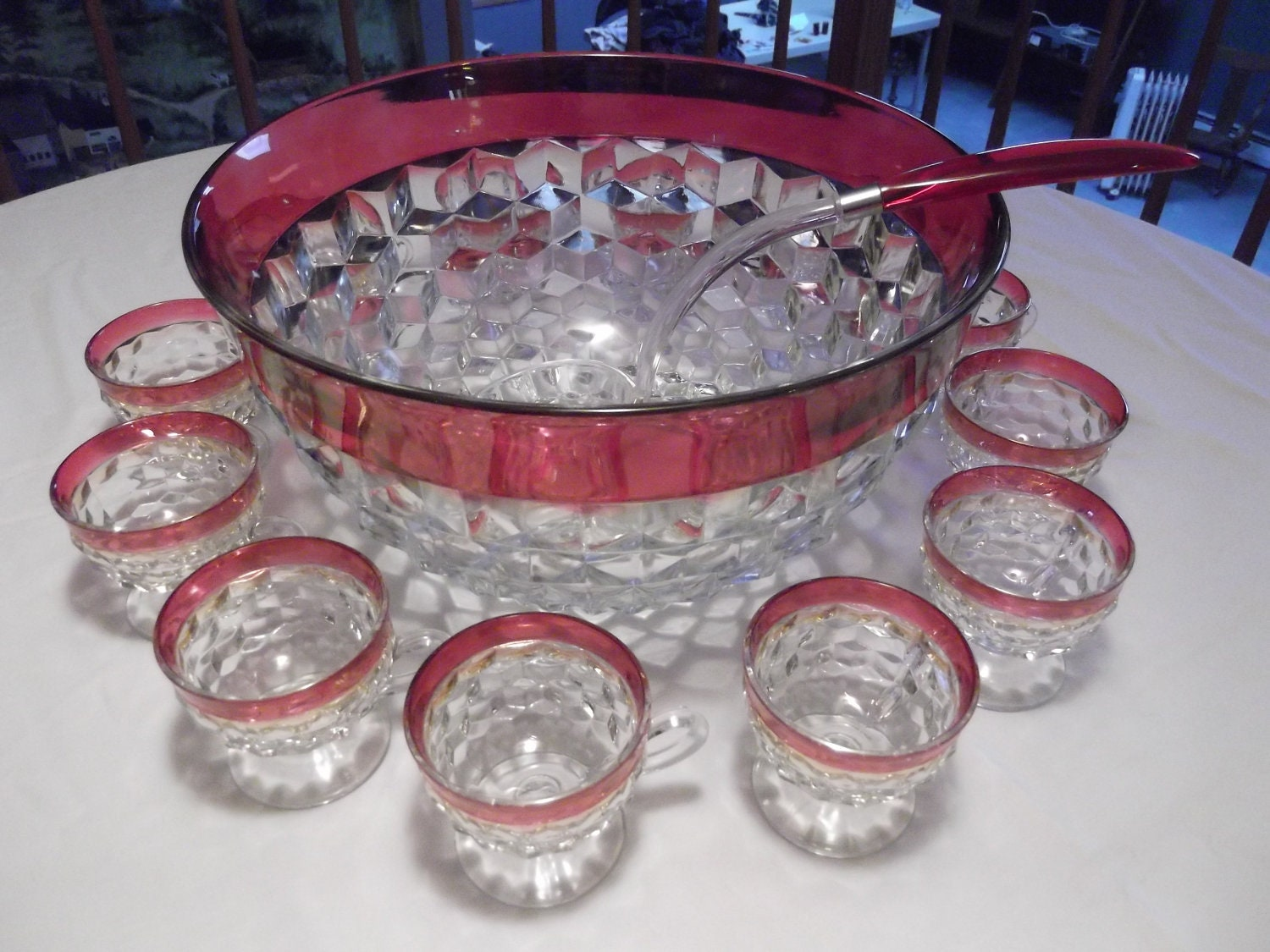 Indiana Glass Whitehall Ruby Red Flash Crystal Punch Bowl Set