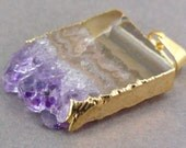 Amethyst Stalactite Slice with 24k Gold Electroplated Edge Pendant Necklace option BEST PRICING vertical version