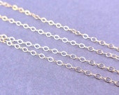 "14 kt. Gold Fill Chain Finished Spring Clasp 16"" Flat Cable 1.3mm Bulk lot of 5 chains  GF16"