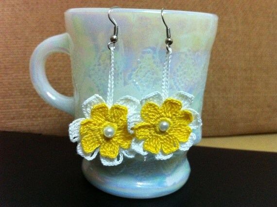Crochet Flower Earrings in Yellow and White, Usa Seller