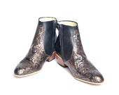 black and bronze leather beatle boots  - FREE SHIPPING