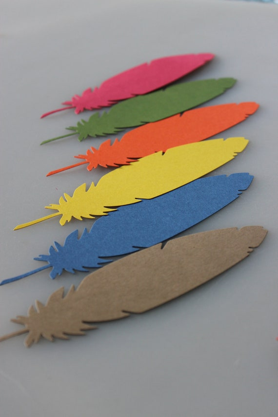 5 inch Paper Feather Die Cut Embellishments for Scrapbooking, Paper Crafts, Table Settings and Party Favors - Set of 100