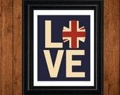 British Flag, I LOVE my BRITISH Roots, Union Jack Flag, Typography 8 x 10 Print