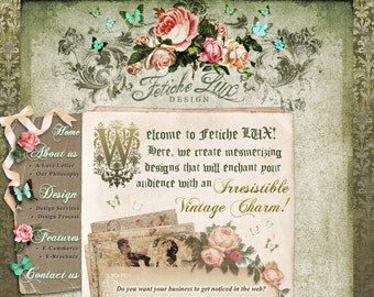 Custom Web Design Custom Website E-Commerce Vintage Shabby Chic Victorian French Cottage Rustic Beautiful Online Store Blog Logo Design