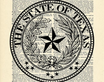 Texas State Seal Dictionary art vintage star on Upcycled Vintage Dictionary Paper - 7.75x11 under 10