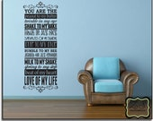"You are the peanut to my butter  15""w x 40""h- Vinyl Wall Art / vinyl decal: walls, tiles, doors, windows, mirrors, crafts, etc."