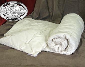 Wool Comforter, All Season Handmade, in an organic cotton shell