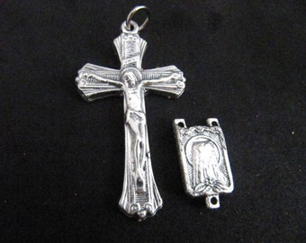 Italian Silver Rosary Crucifix and Matching Our Lady of Lourdes Centerpiece - 1 set
