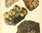 Vintage Chart 1922 Chromolithograph Minerals