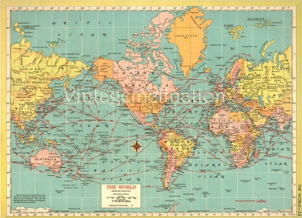 Antique WORLD Map 1940s ORIGINAL Map of the by VintageInclination