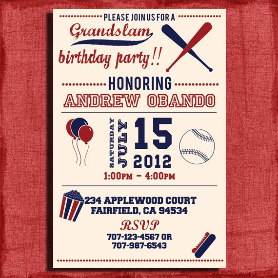 Vintage Baseball Birthday Invitation 4x6 or 5x7 by ...