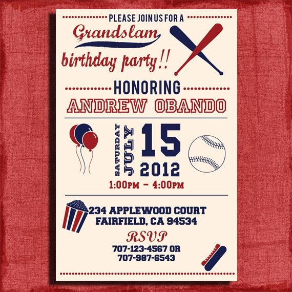 Vintage Baseball Birthday Invitation 4x6 or 5x7 – Free Printable Baseball Birthday Invitations