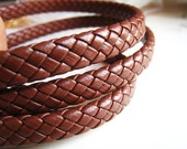 1 Yards of 9 mm Camel ( Brown ) Lace Strap Genuine Flat Braided Leather Cord