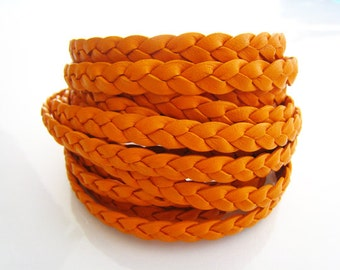 1 Yard of 7mm Orange Lace Strap Genuine Flat Braided Leather Cord
