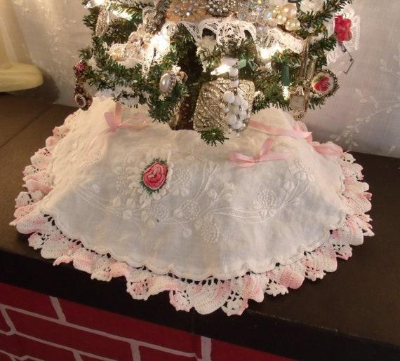 Mini Black Christmas Tree: BLACK FRIDAY Mini Christmas Tree Skirt From Vintage Linens