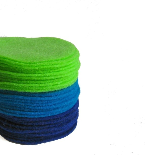 "150, 3"" Felt Circles Neon Green, Medium Blue, Royal Blue"