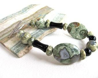 Earthy bracelet, Rhyolite with Onyx, beaded bracelet, vintage Onyx,  gemstones 335